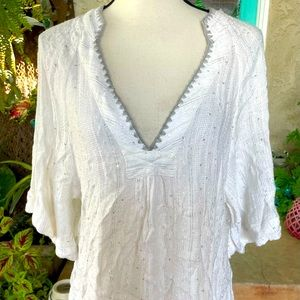 Free People White Silver Casual Top Blouse size SP